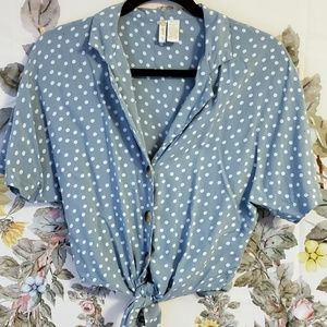 Blue Polka Dot Tie Front Blouse
